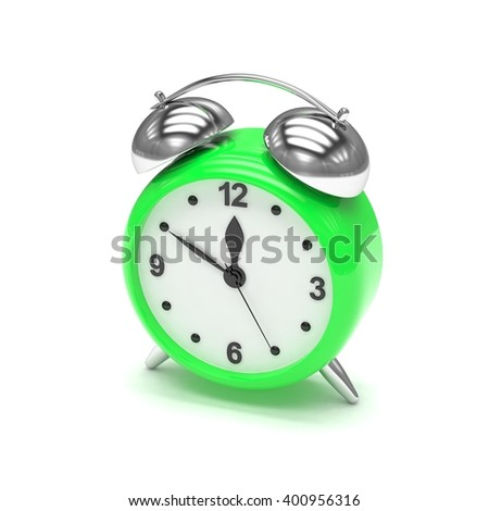 Green alarm clock on white. 3d rendering.