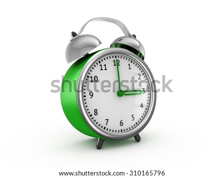 Green alarm clock shows three hours. 3d render isolated on white background