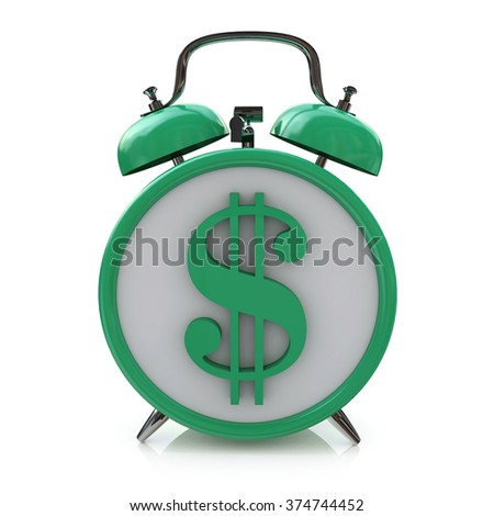 Green alarm clock with dollar symbol on clockface. Time is money in the design of information related to business and economy - stock photo