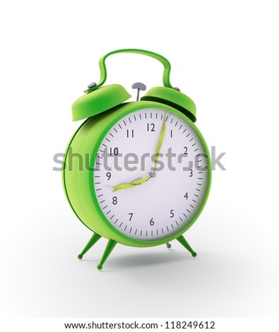 Green alarm clock with  hands made out of grass strands