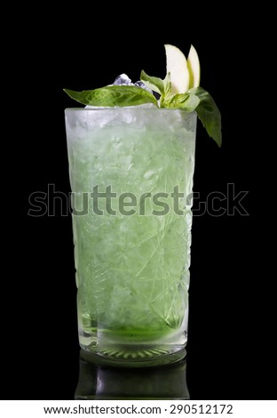 Green alcohol cocktail - stock photo
