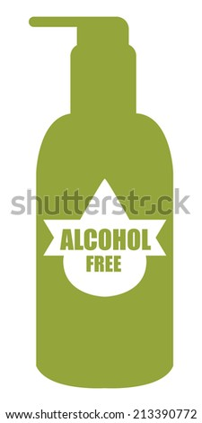 Green Alcohol Free Icon, Label or Cosmetic Container Isolated on White Background  - stock photo