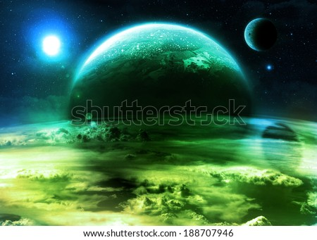 Green Alien World - Elements of this image furnished by NASA - stock photo