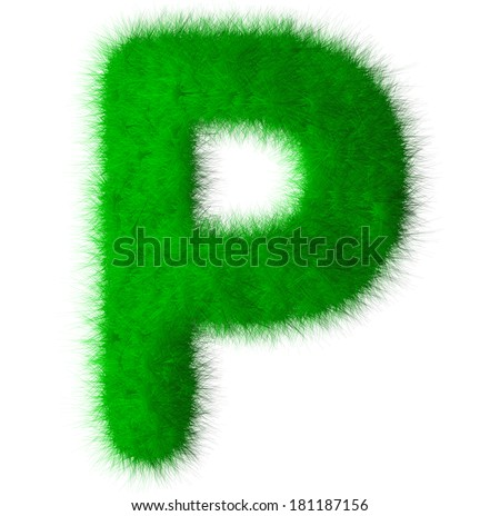 Green alphabet grass P letter,eco font isolated on white background - stock photo