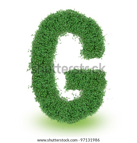 Green alphabet letter over white