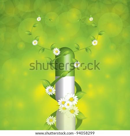Green alternative medication concept - pill caduceus style - stock photo