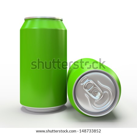 Green aluminium cans on white background 3D