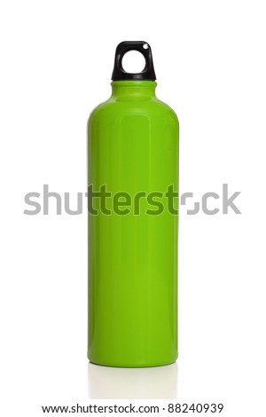 Green aluminum reusable water bottle isolated on a white background.