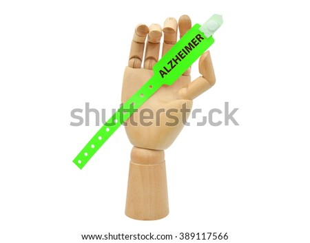 Green Alzheimer Medical Alert Wristband in Mannequin Hand isolated on white background