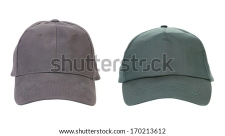 Green and black working peaked caps. Isolated on a white background. - stock photo