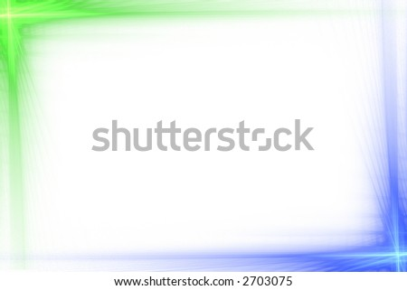 Green and blue abstract flash frame over white with copyspace - stock photo
