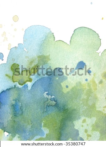 green and blue abstract watercolor background - stock photo