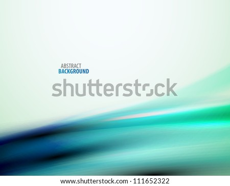 Green and blue blurred wave abstract background. Raster version of my vector illustration - stock photo