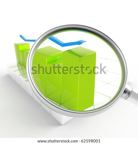green and blue charts under magnification on white background - stock photo