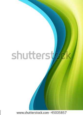 Green and blue dynamic wave over white background - stock photo