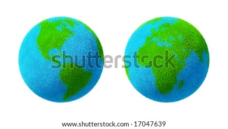 Green and blue grass Earth Globe isolated on white