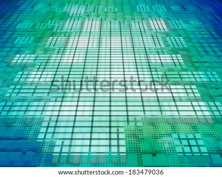 Green and blue matrix background.Digitally generated image. - stock photo