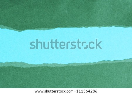 Green and blue paper banner with copy space