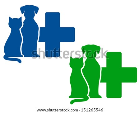 green and blue veterinary icons with dog and cat silhouettes - stock photo