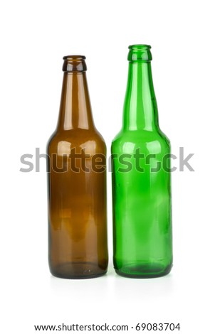 Green and brown beer bottles isolated on the white background - stock photo