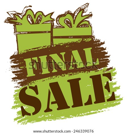 Green and Brown Final Sale Banner, Sticker, Icon or Label Isolated on White Background  - stock photo