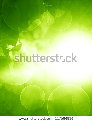 Green and fresh background with soft highlights and sparkles - stock photo