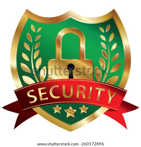 Green and Gold Metallic Security Shield, Ribbon, Badge, Icon, Sticker, Banner, Tag, Sign or Label Isolated on White Background - stock photo