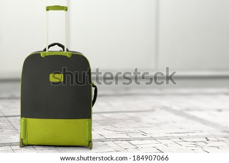 green and gray suitcase  - stock photo