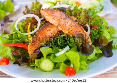 green and healthy food salmon salad. - stock photo