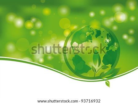 Green and light abstract background with world
