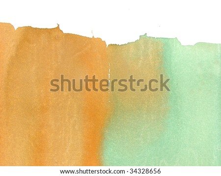 green and orange abstract watercolor background