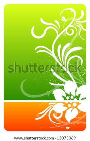 Green and orange floral design card with grunge pattern