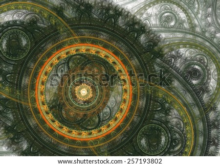 Green and orange machanical fractal on white - stock photo