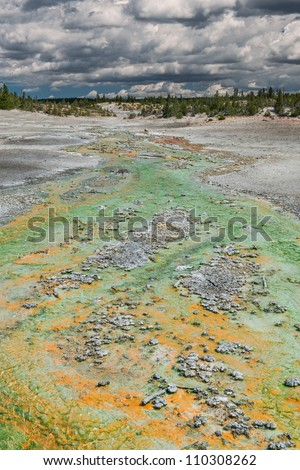 Green and orange stream at the Norris Geyser Basin in Yellowstone National Park, Wyoming - stock photo