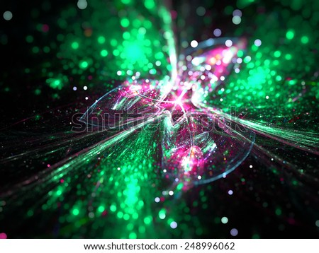 green and pink abstract fractal fantasy background with light rays - stock photo