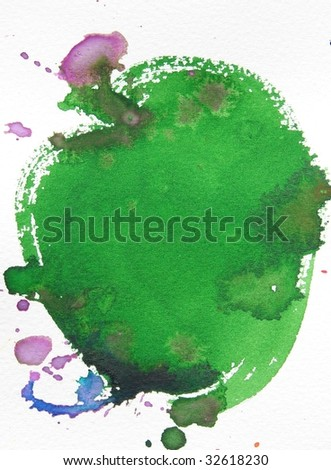 green and purple abstract watercolor brush splash background - stock photo