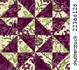 Green and Purple Flower Patchwork - stock photo