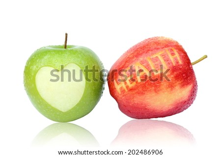 Green and red apple isolated on white background. - stock photo