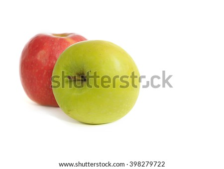 Green and red apple isolated on white background - stock photo