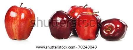Green and red apples on a white background with space for text - stock photo