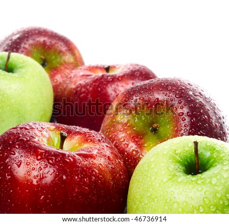 Green and red apples on white background - stock photo