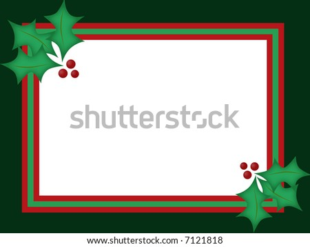 Green and red blank background with holly sprig adornment. - stock photo