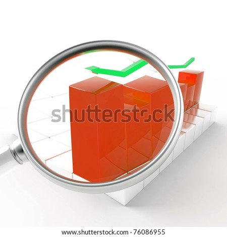 green and red charts under magnification on white background - stock photo
