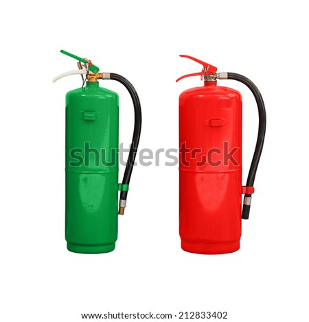 green and red chemical fire extinguisher isolated on white background - stock photo