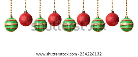 Green and red Christmas balls isolated on white background    - stock photo