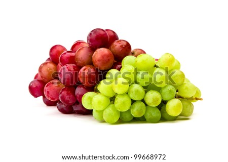 Green and red grape isolated on white - stock photo