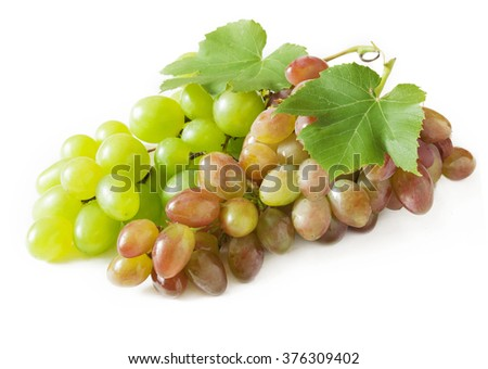 Green and red grapes branches isolated on white background