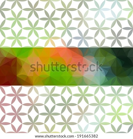 Green and red minimalistic background with geometric floral ornament. Raster version - stock photo