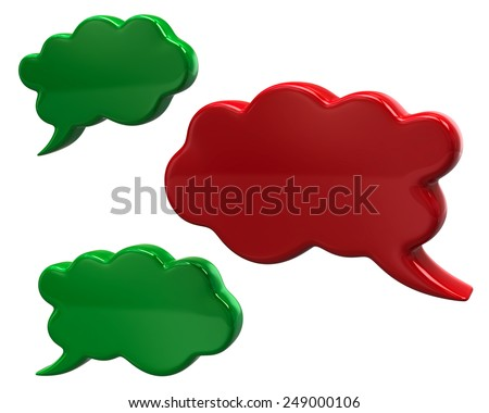 Green and red speech bubbles - stock photo