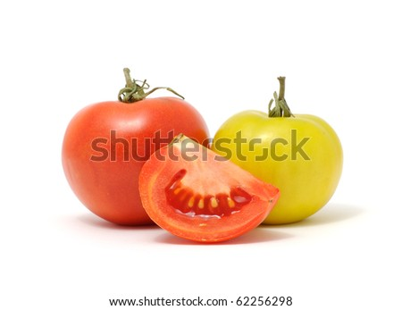 Green And Red  Tomatoes Isolated on White Background - stock photo